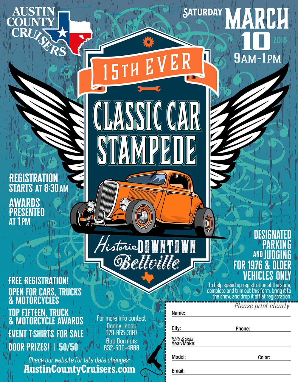 Austin County Cruisers Classic Car Stampede 2018 flyer